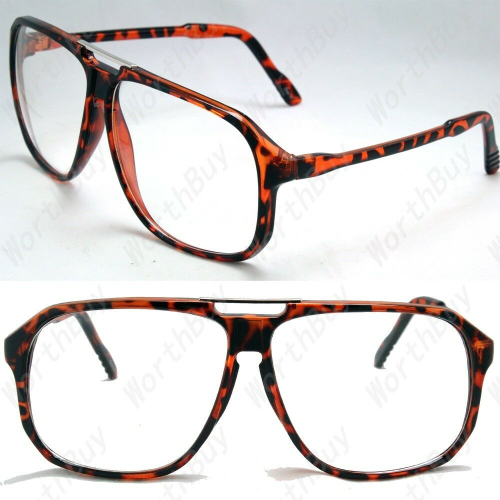 Brown Square Clear Lens Frames Flat Top Glasses Fashion ...