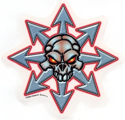 RARE CHAOS Comics! SILVER SKULL WITH GLOWING EYES STICKER ...