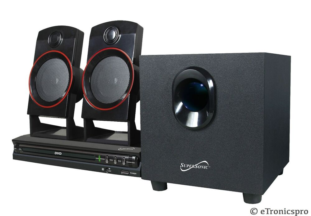 supersonic sc 35ht 2 1 channel surround sound dvd home theater system w remote 639131000353 ebay. Black Bedroom Furniture Sets. Home Design Ideas