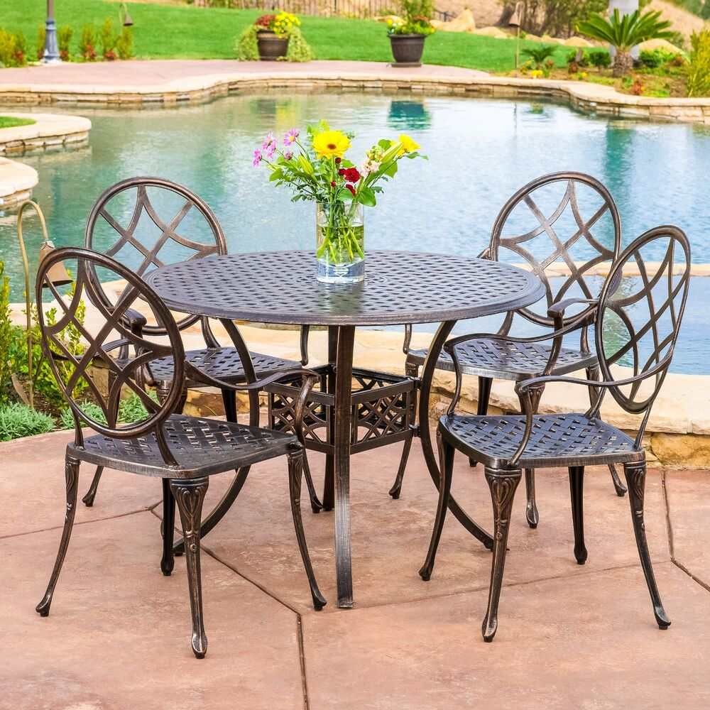 Cast Aluminum Cast Aluminum Outdoor Dining Set