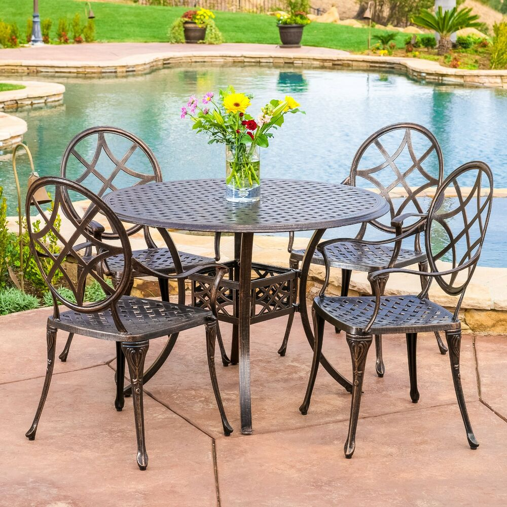 Outdoor Patio Furniture 5pcs Copper Cast Aluminum Dining
