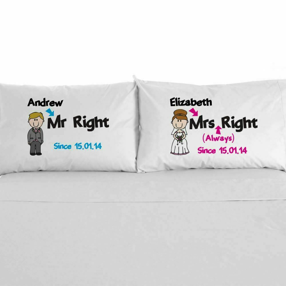 Cotton Wedding Gift: Mr Right Mrs Always Right Gift 2nd Wedding Anniversary