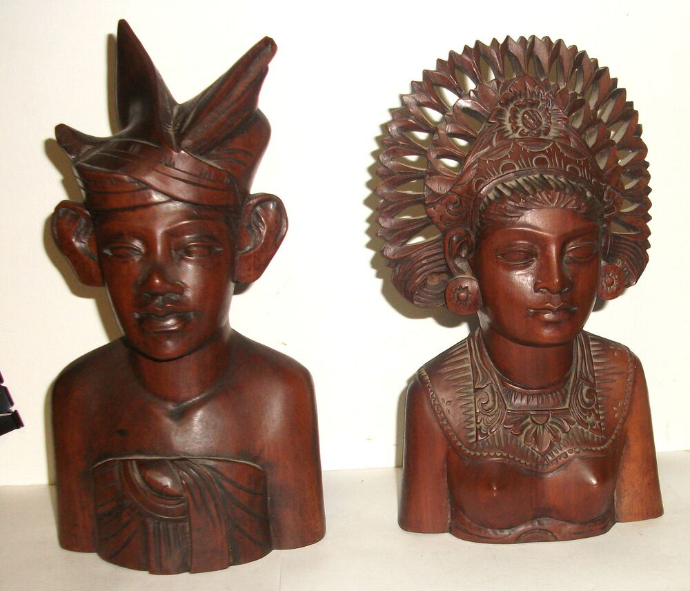 Pair of woman and man klungkung bali hard wood carved