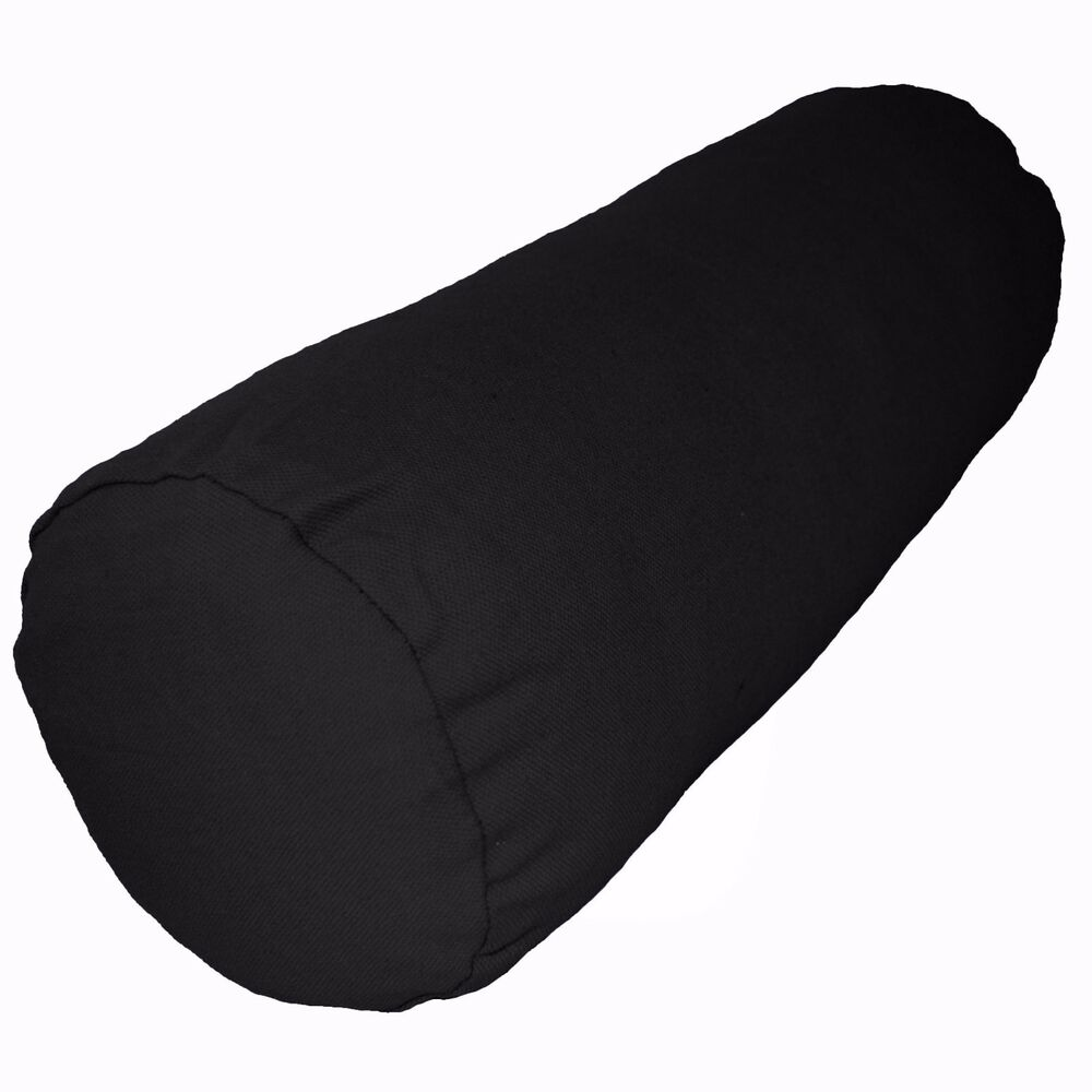 Aa152g Black Plain Cotton Canvas Fabric Yoga Bolster