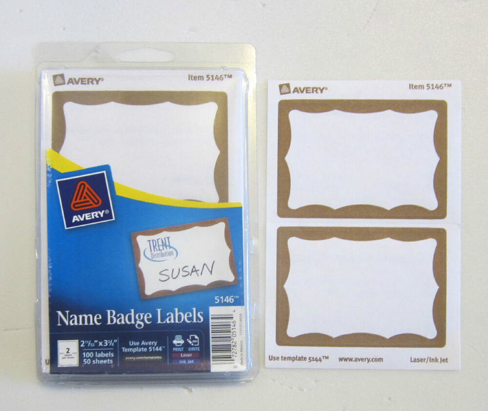 50 AVERY DENNISON GOLD BORDER BADGES NAME TAGS ID LABELS