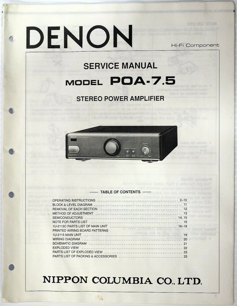 denon poa 7 5 stereo power amplifier service manual parts original shop repair ebay. Black Bedroom Furniture Sets. Home Design Ideas