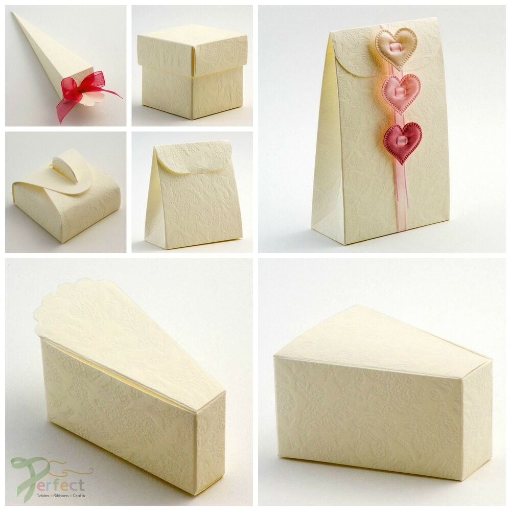 Wedding Gift Boxes Ebay : ... Wedding Party Favour Gift Boxes - Embossed SORGENTE IVORY Cream eBay