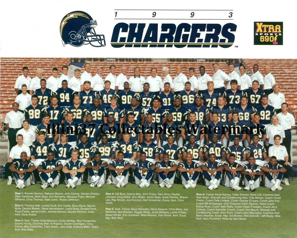 1993 San Diego Chargers Nfl Football 8x10 Team Photo Ebay