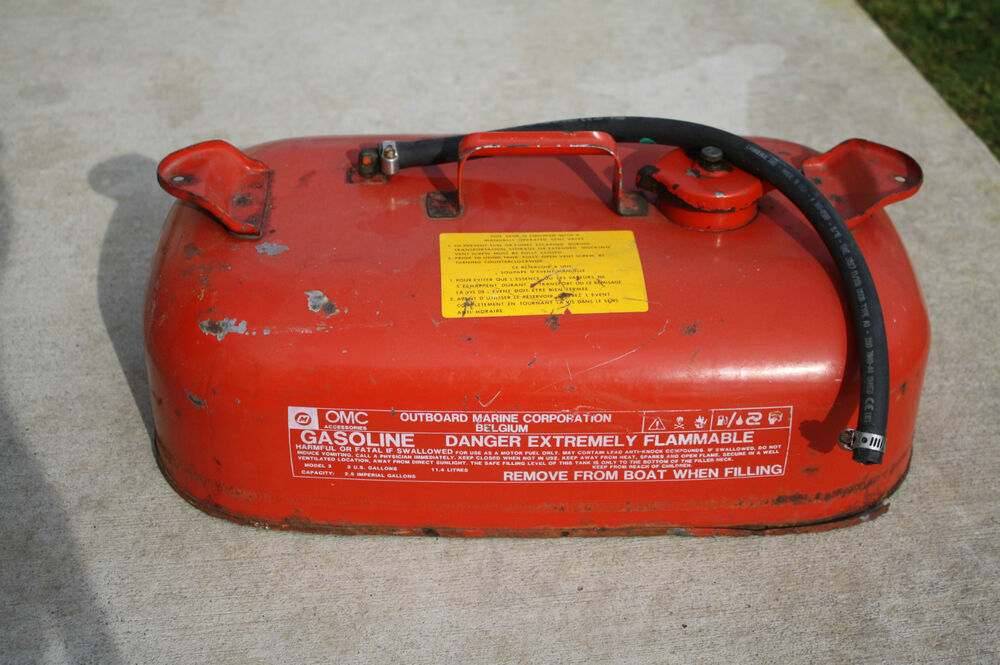 Johnson omc 3 gallon metal fuel gas tank cell for outboard for Gas tanks for outboard motors
