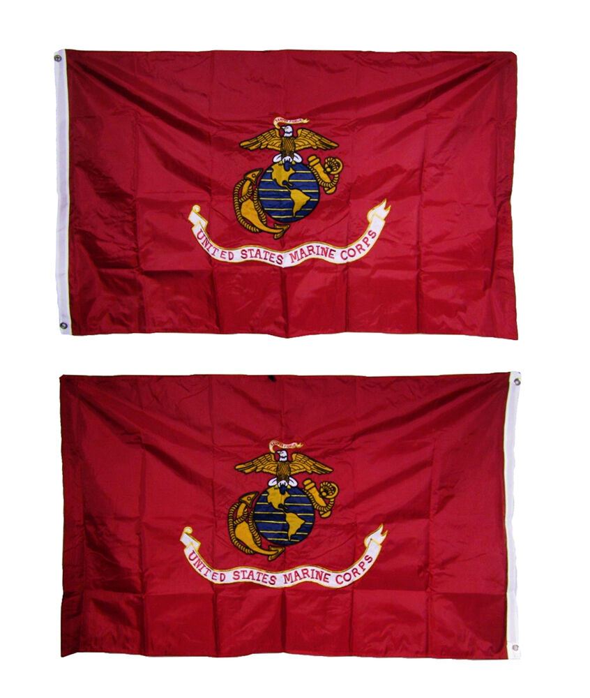 2x3 Embroidered Usmc Marine Corps 300d Nylon Double Sided