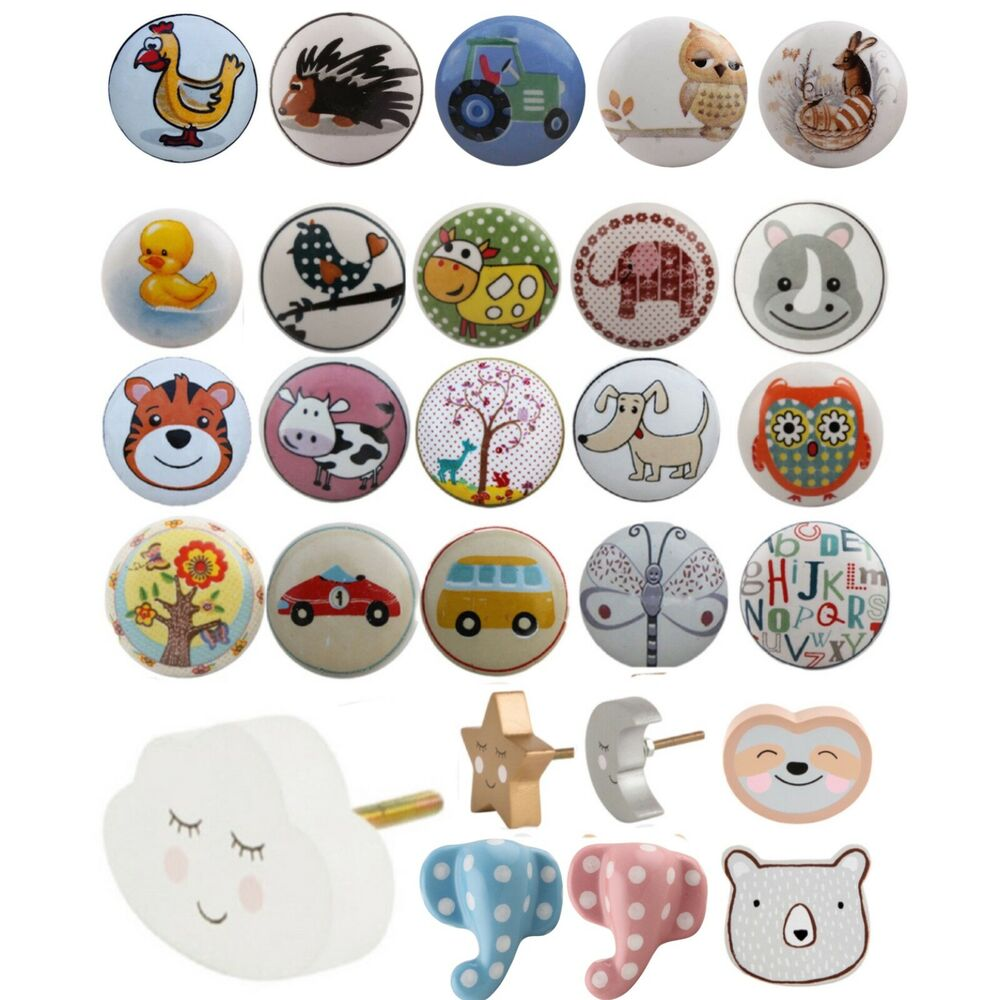 Kids Childrens Ceramic Door Knobs Animal Handles Cupboard
