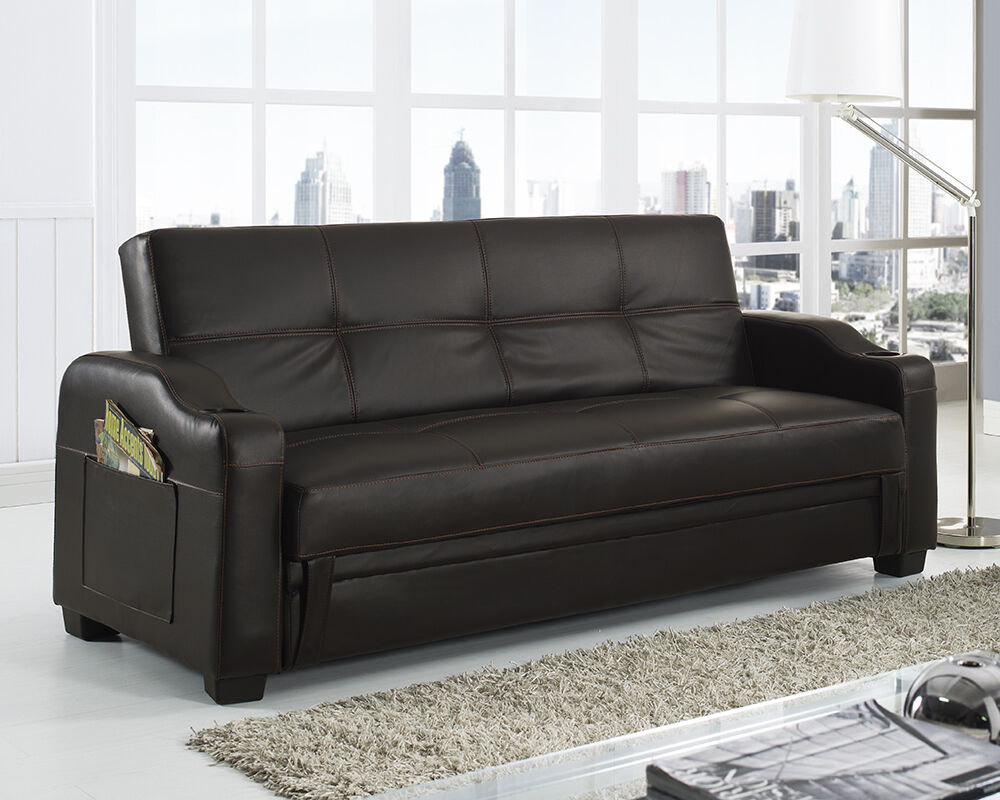 storage sofa bed with cupholders black brown white red faux leather living room ebay. Black Bedroom Furniture Sets. Home Design Ideas
