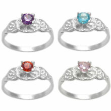 925 Sterling Silver Baby Round CZ Birthstone Ring Size 3 or 4