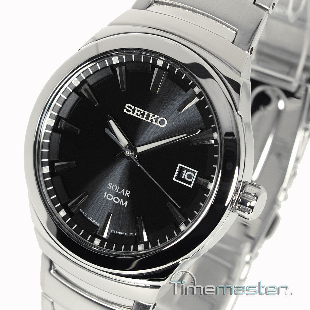 Seiko solar casual dress black face polished brushed s steel sne291p1 sne291 ebay for Seiko solar