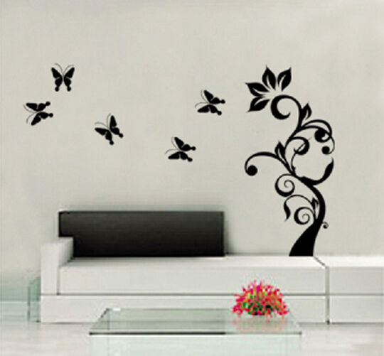 90 X 22 Large Vine Butterfly Wall Decals Removable: Black Vine Butterfly Flower Tree Leaf Vinyl Removable Wall