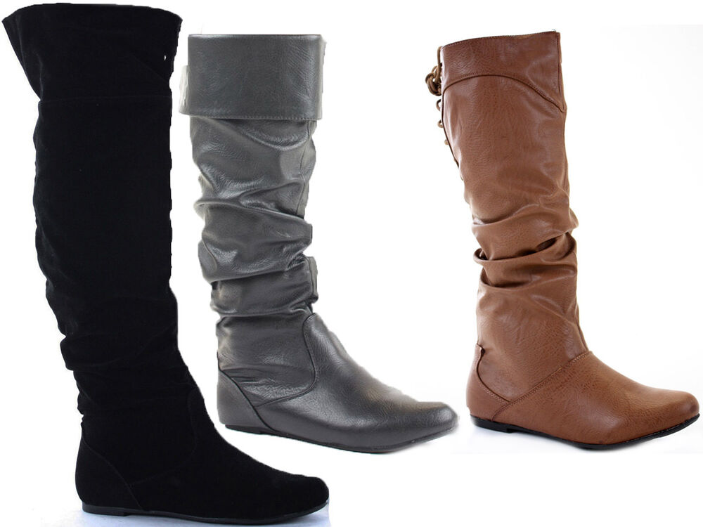 womens slouch biker style knee high boots