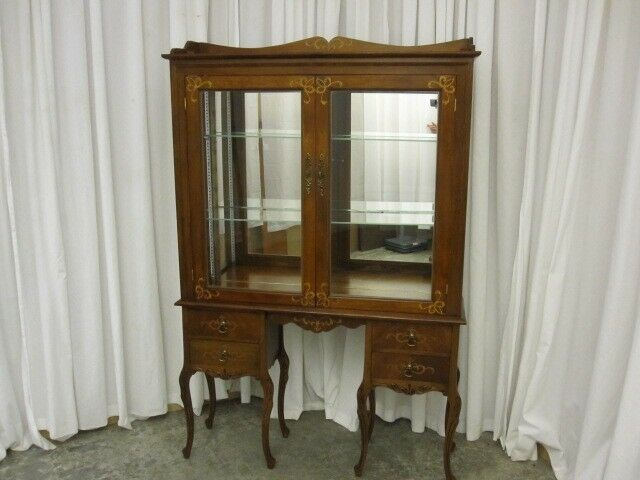 antique southern style inlay china curio cabinet w
