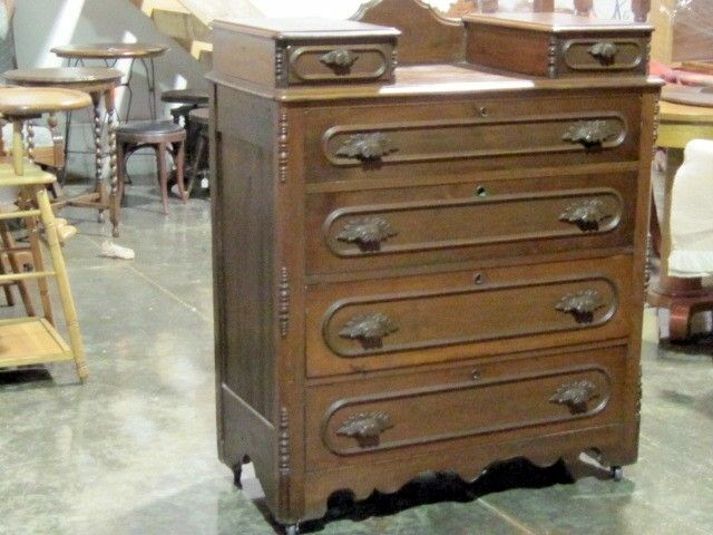 Wooden Chest Of Drawers: Antique Walnut Chiffonier Chest Of Drawers W Wood Pulls