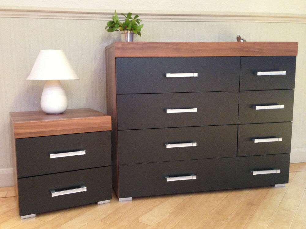 Black & Walnut 4+4 Drawer Chest & 2 Drawer Bedside Cabinet
