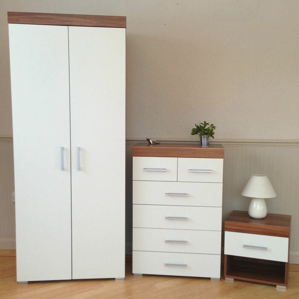 3 Piece White Walnut Bedroom Set Wardrobe 4 2 Drawer Chest Bedside Table 6 Ebay
