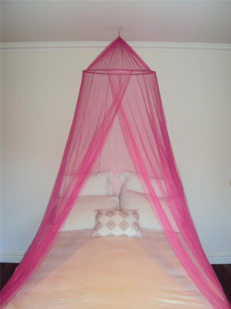 Pink decorative mosquito fly canopy net bed netting for for Bed with mosquito net decoration