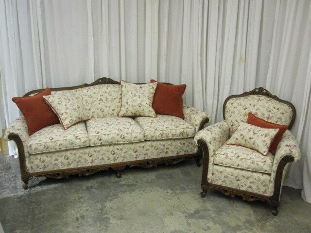 Chair set classic french style fresh upholstery w throw pillows ebay