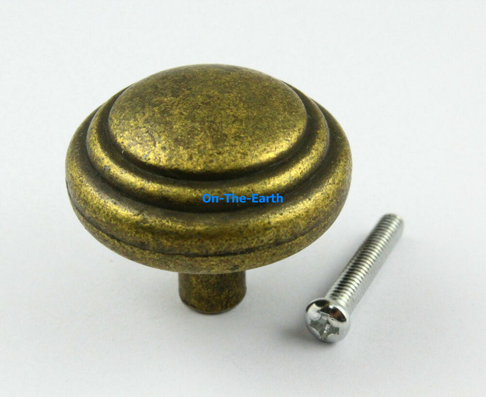 10 pieces 34mm antique brass round furniture handle for Furniture knobs