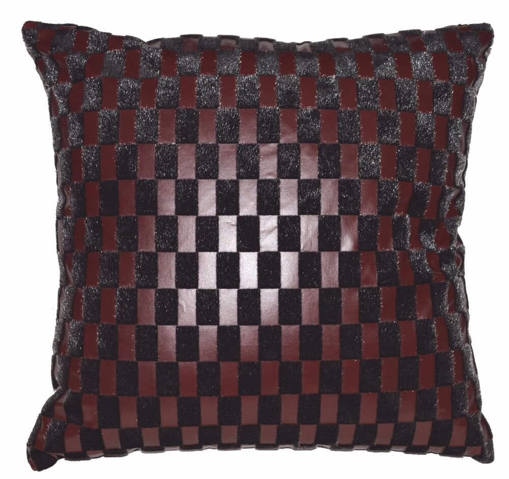 Sb217a reddish brown faux leather black faux fur cushion for Brown leather sofa cushion covers