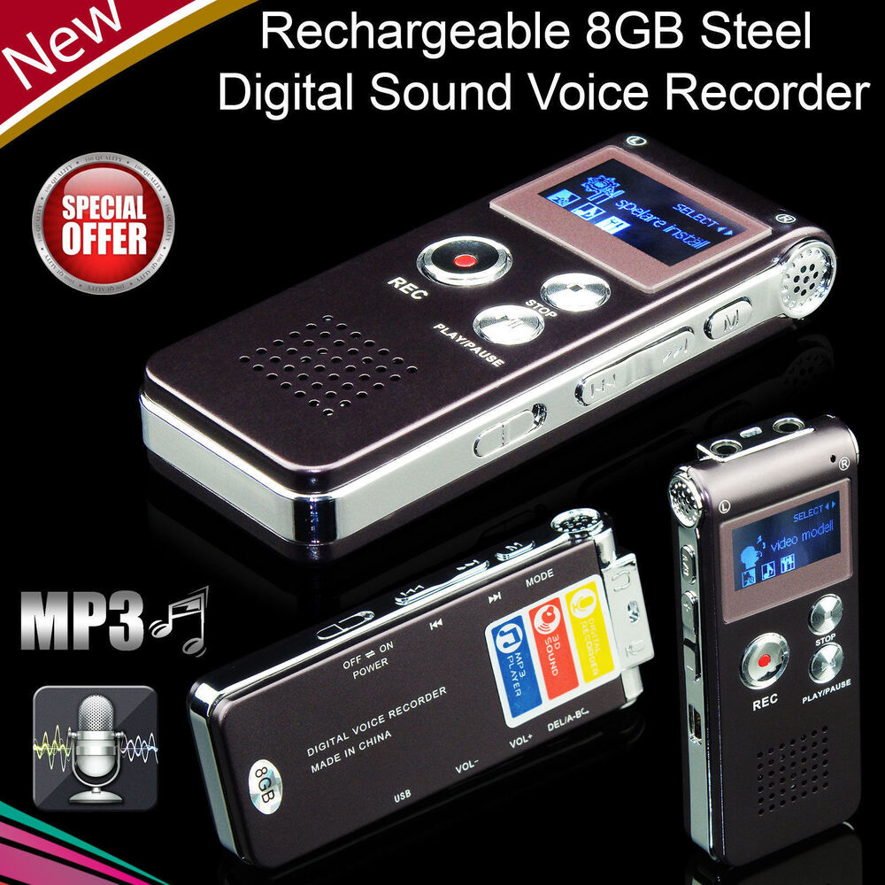 digital sound voice recorder 8gb rechargeable steel. Black Bedroom Furniture Sets. Home Design Ideas
