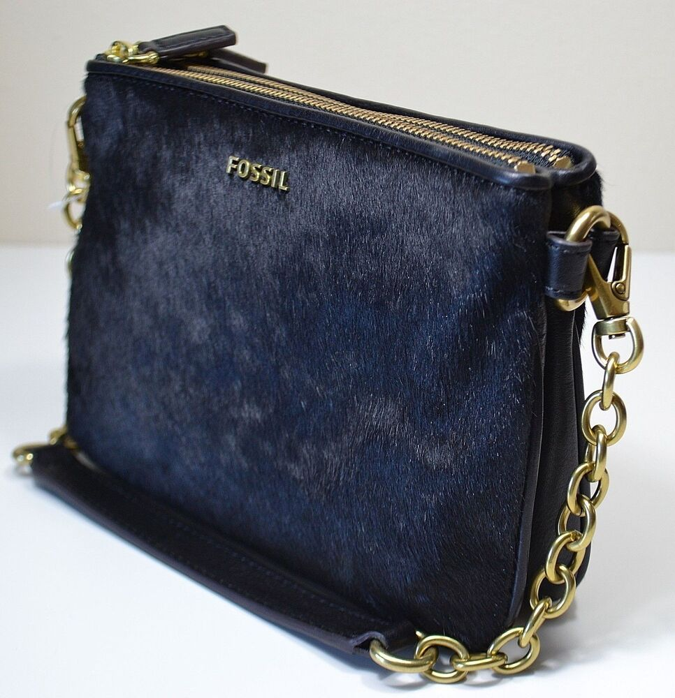 Fossil Purse Black Double Top Zip Pocketbook with actual ...