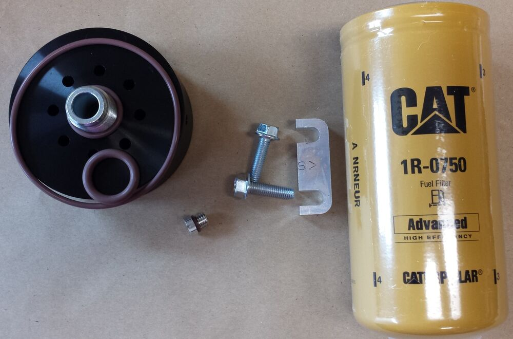 Duramax Cat Fuel Filter Adapter W   Filter  Spacer  Bleed