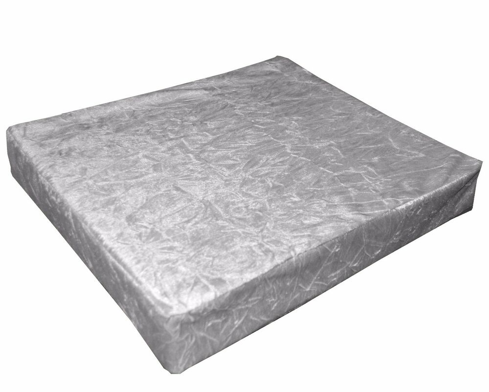 Mn112t Silver Crushed Velvet Style 3d Box Sofa Seat