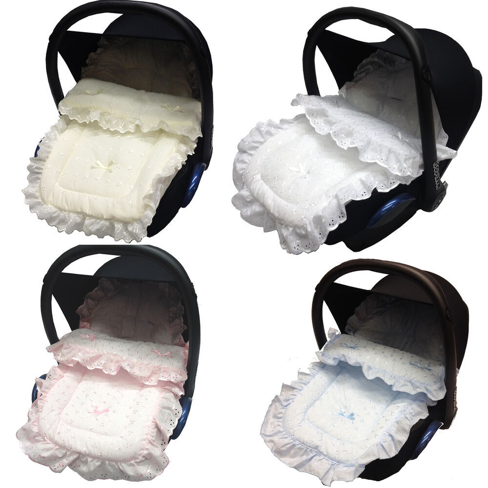 frilly broderie anglaise car seat footmuff cosy toes maxi cosi cabrio pebble ebay. Black Bedroom Furniture Sets. Home Design Ideas