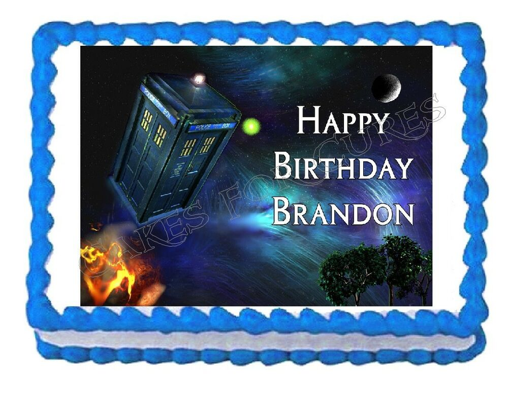 Dr who tardis edible party cake topper decoration for Decoration porte tardis