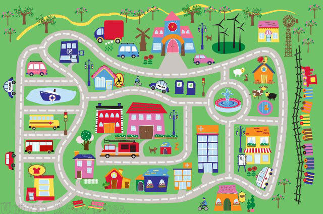 3x5 Rug Kids Play Road Street City Country Map Fun Driving