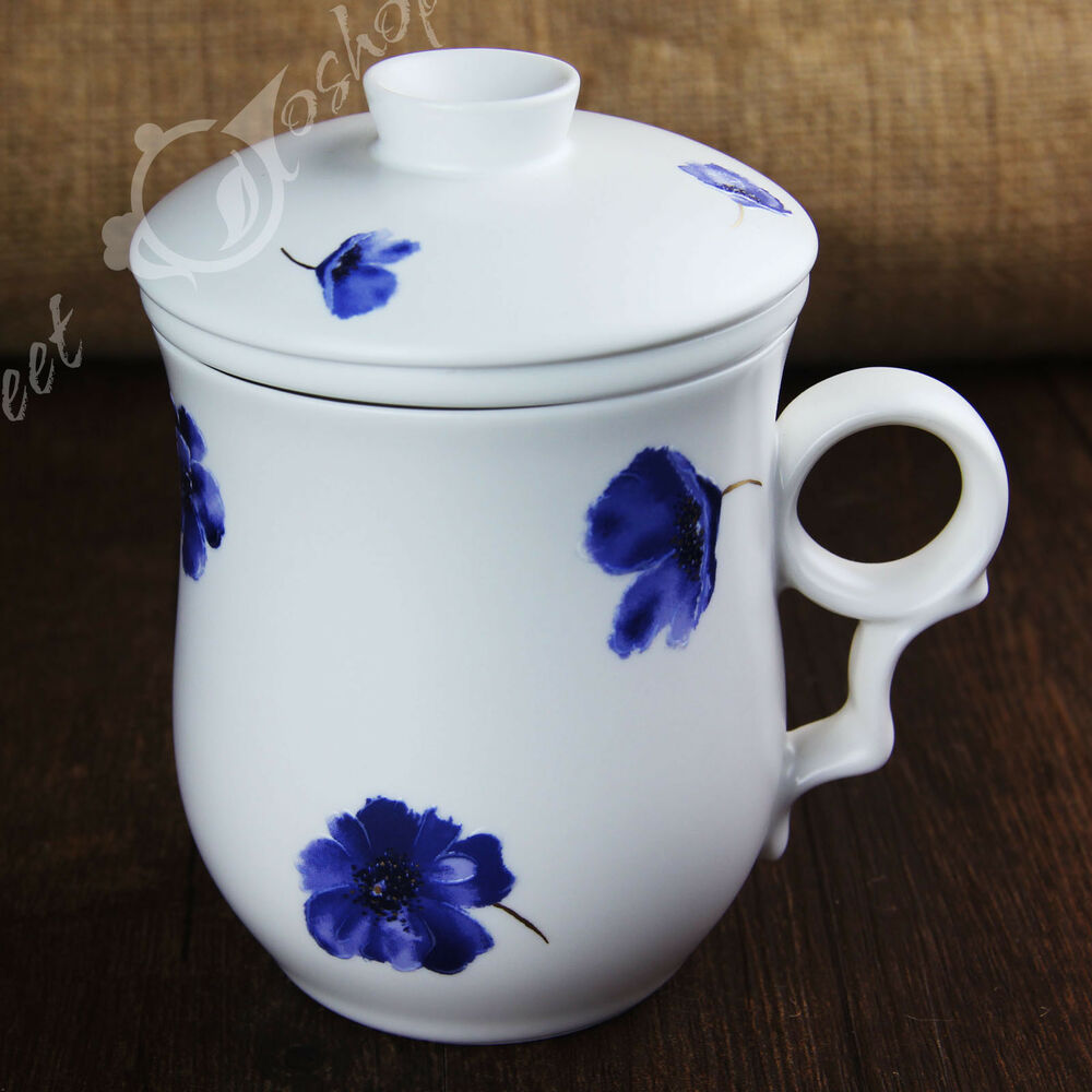 Cup With Lid : Blue flowers ceramic chinese porcelain tea mug cup with
