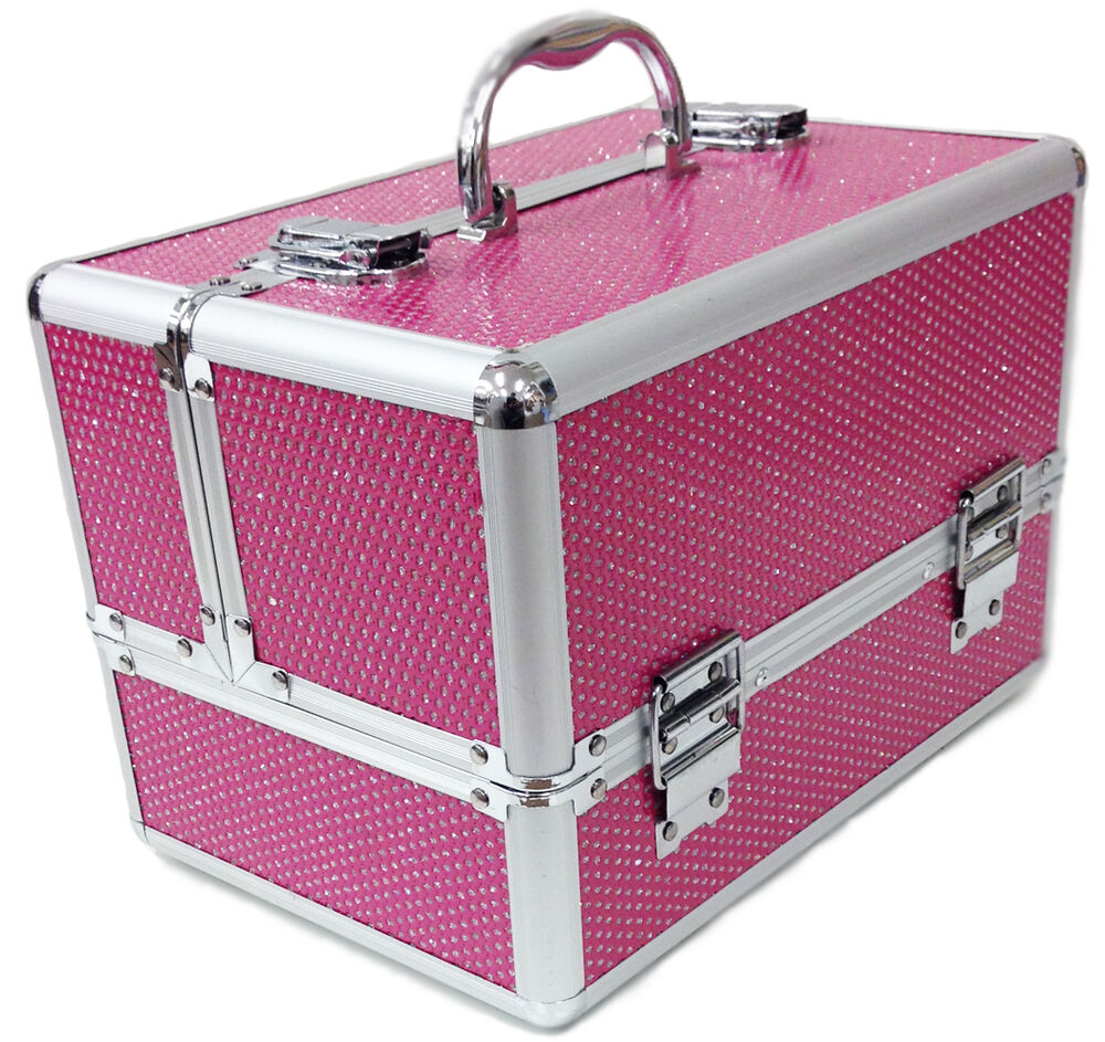 large pink aluminium beauty sequins cosmetic box nail make. Black Bedroom Furniture Sets. Home Design Ideas