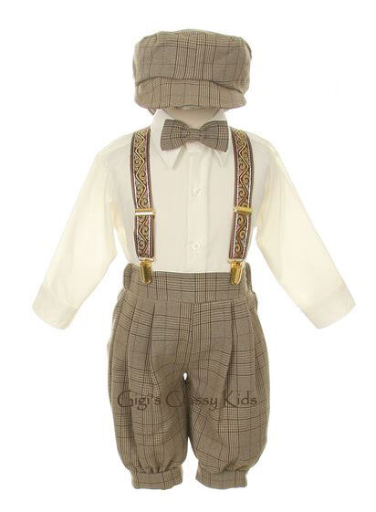New Baby Infant Boys Beige Knickers Vintage Suit Set