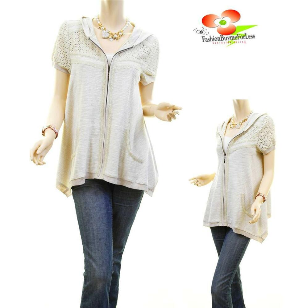 Women Retro Lace Perforated Sleeve Asymmetric Tunic Hoodie ...