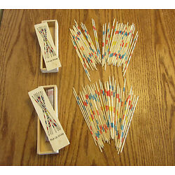2 SETS OF NEW WOOD PICK UP STICKS WITH WOODEN BOX PICK-UP MIKADO SPIEL GAME