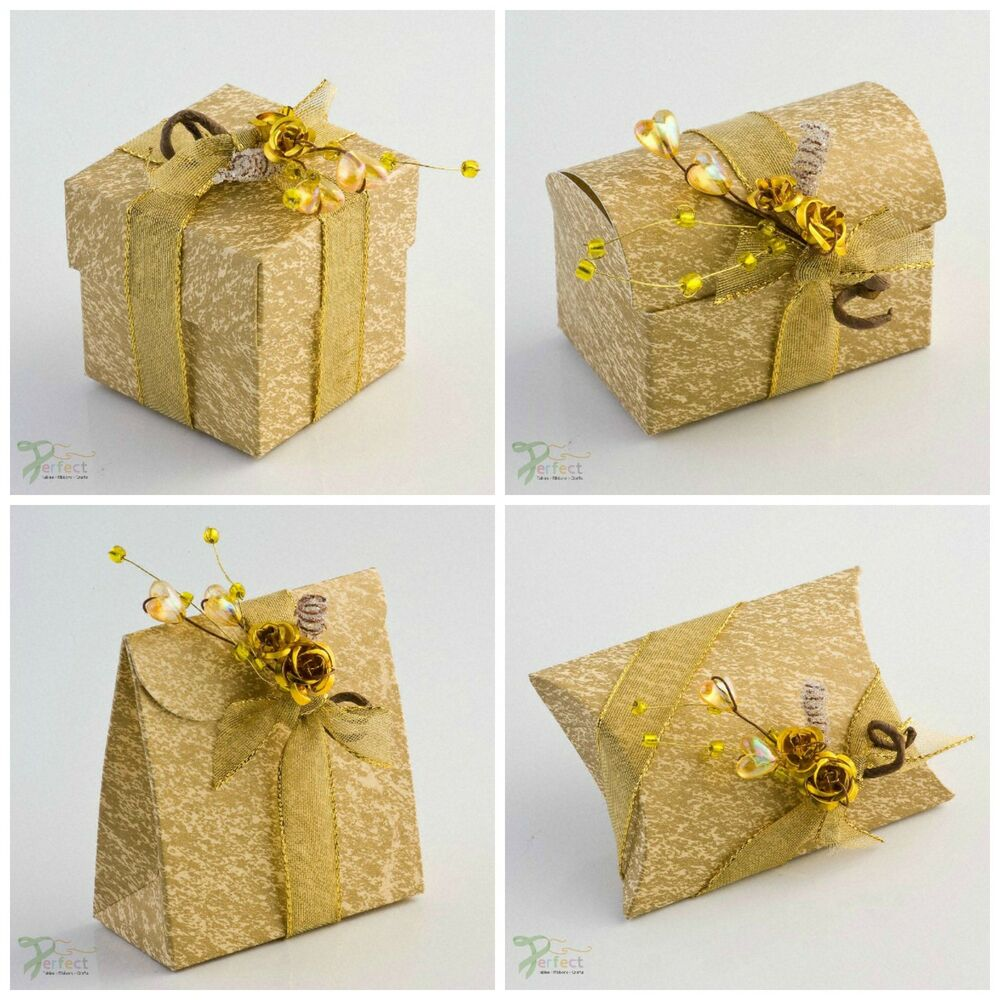 Gift Box Gold : Luxury diy ivory gold wedding christmas table party favour