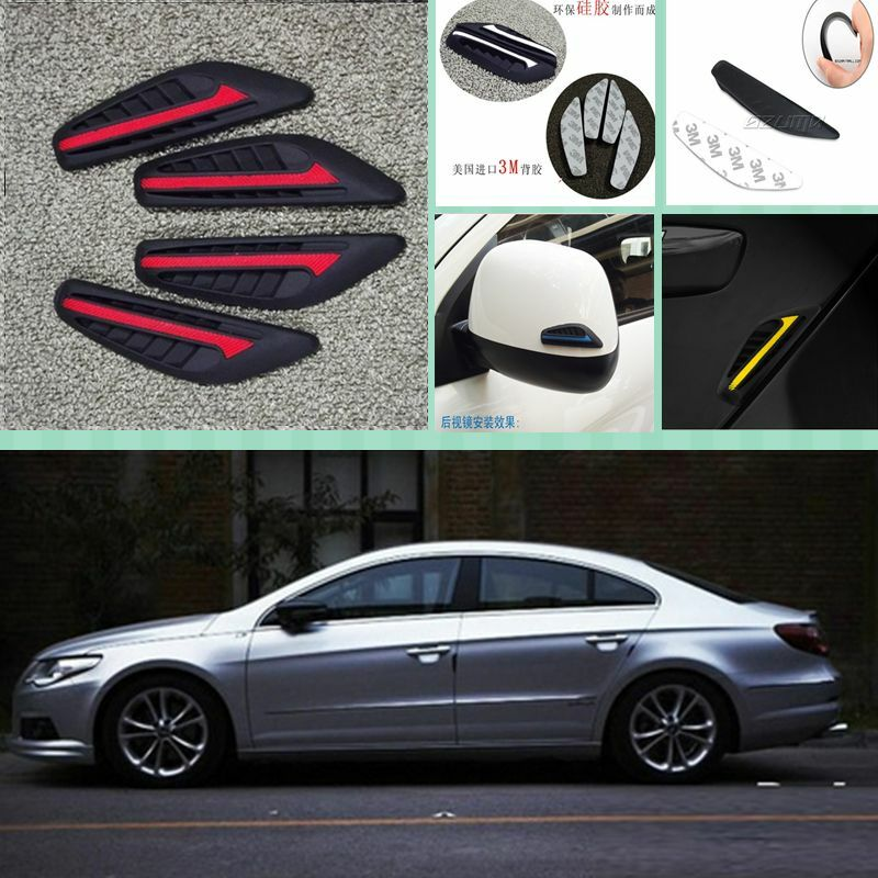 4 x Red Protection Car Door Bumper Decoration Exterior ...