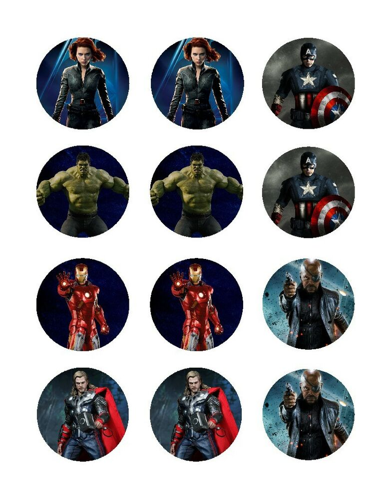 Avengers edible cupcake toppers frosting sheet decoration ...