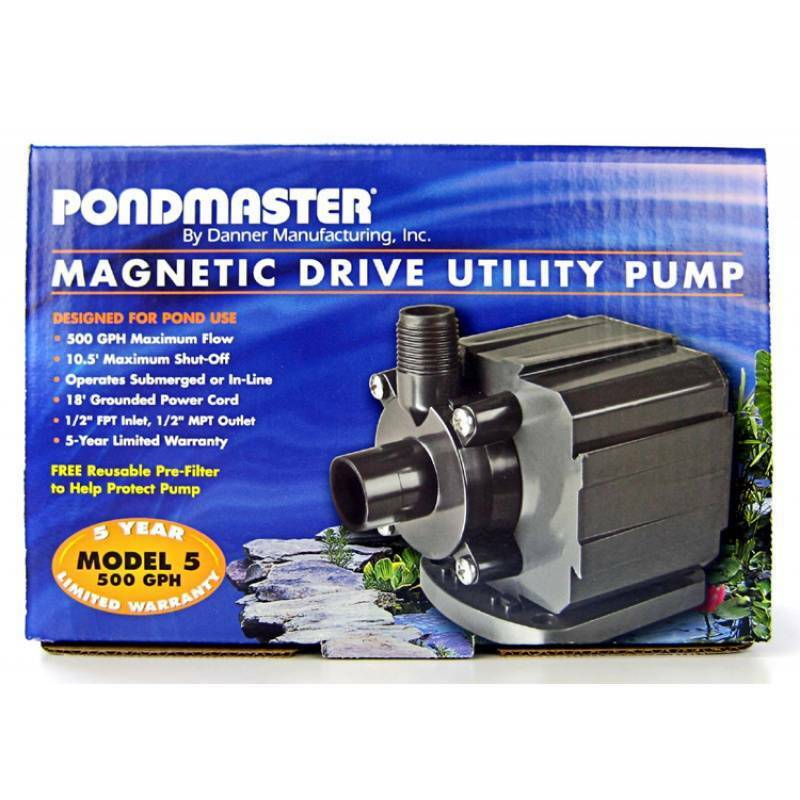 Pondmaster 500 gph mag drive pump pond fish aquarium small for Koi pond motors