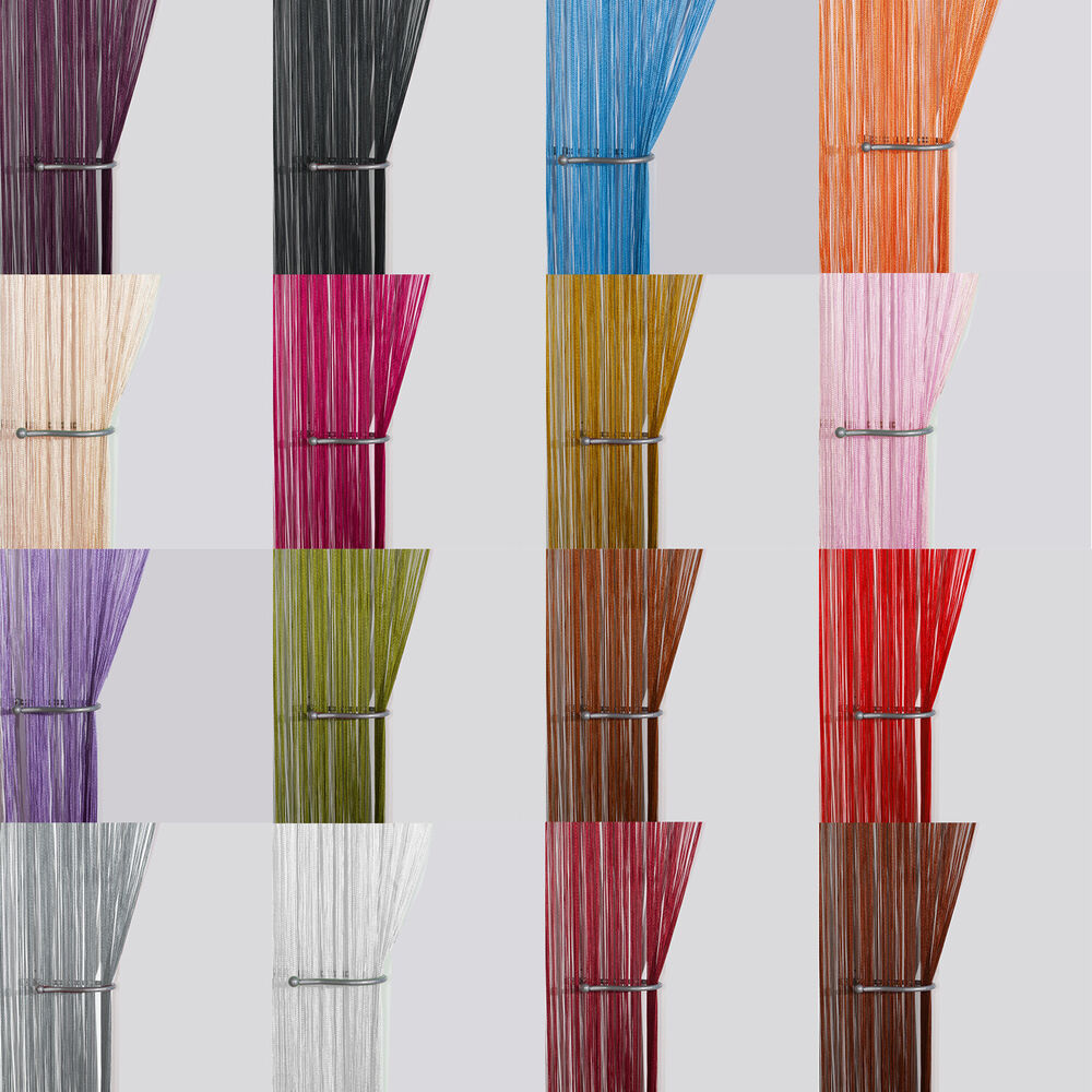 String curtain panels door fly screen room divider for Net curtains for patio doors