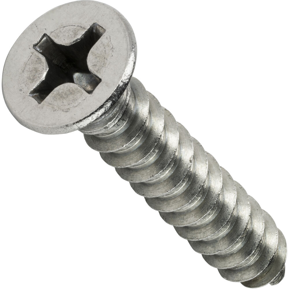 sheet metal screws flat head phillips self tapping 8 x 3 8 qty 100 ebay. Black Bedroom Furniture Sets. Home Design Ideas