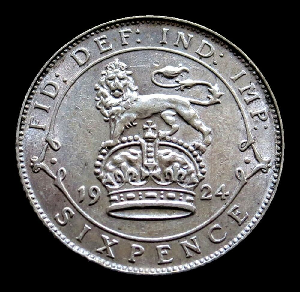 1924 SILVER GREAT BRITAIN SIX PENCE KING GEORGE V COIN UNCIRCULATED CONDITION