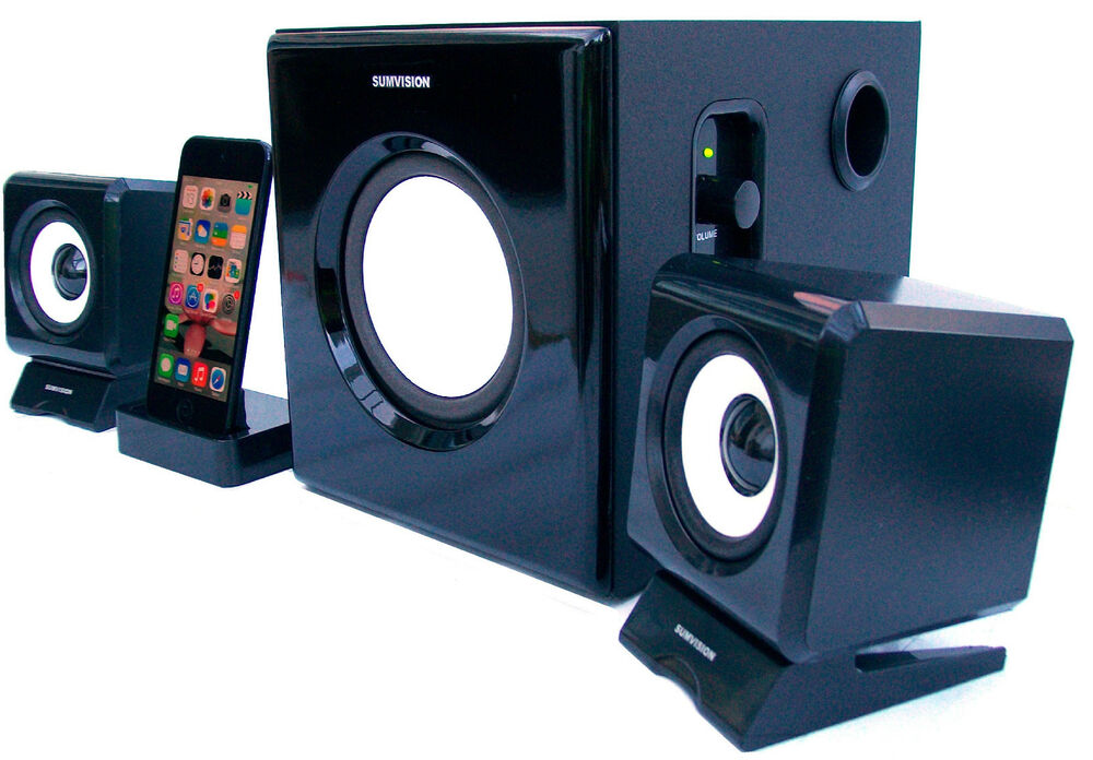 sumvision 5 2 1 music speaker dock station for iphone 5. Black Bedroom Furniture Sets. Home Design Ideas