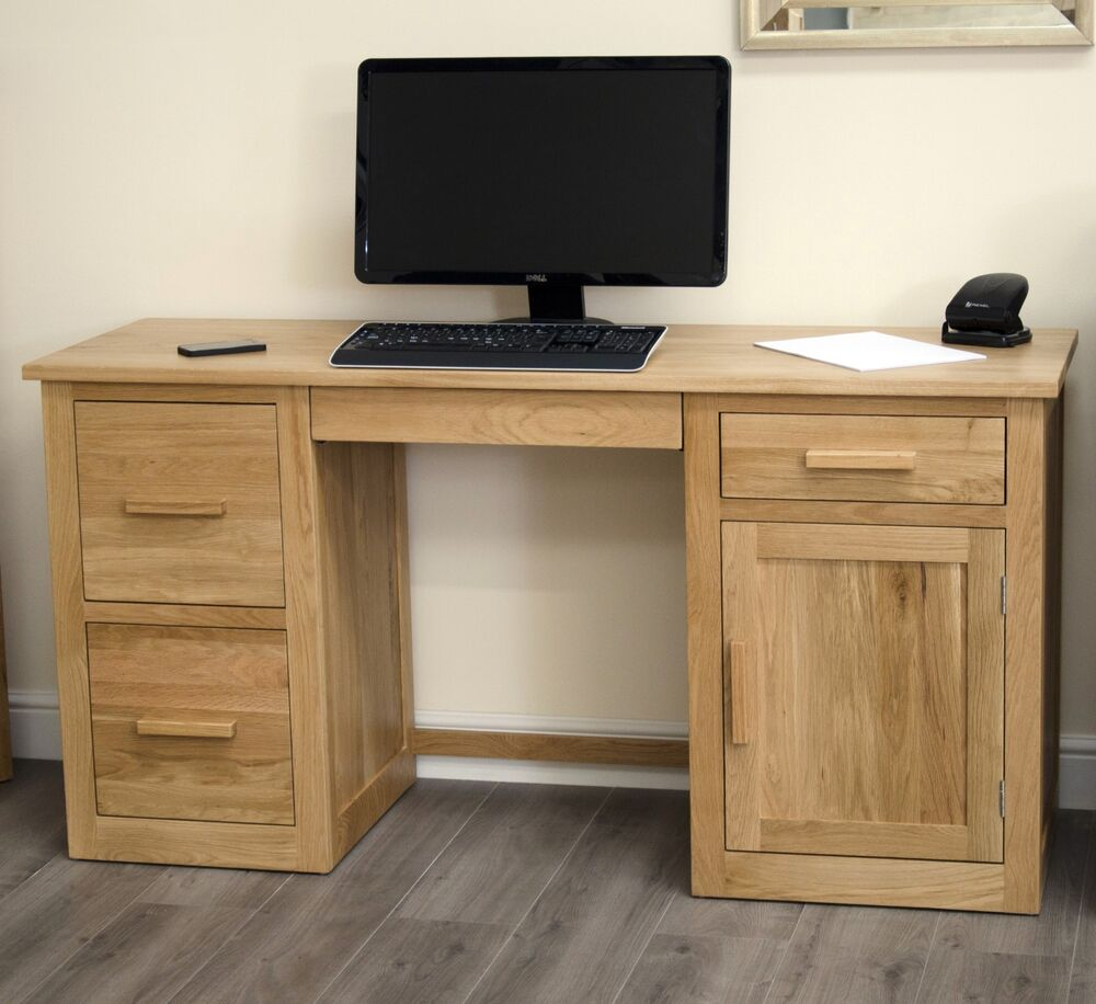 A Furniture: Arden Solid Oak Home Office Furniture Large Computer PC