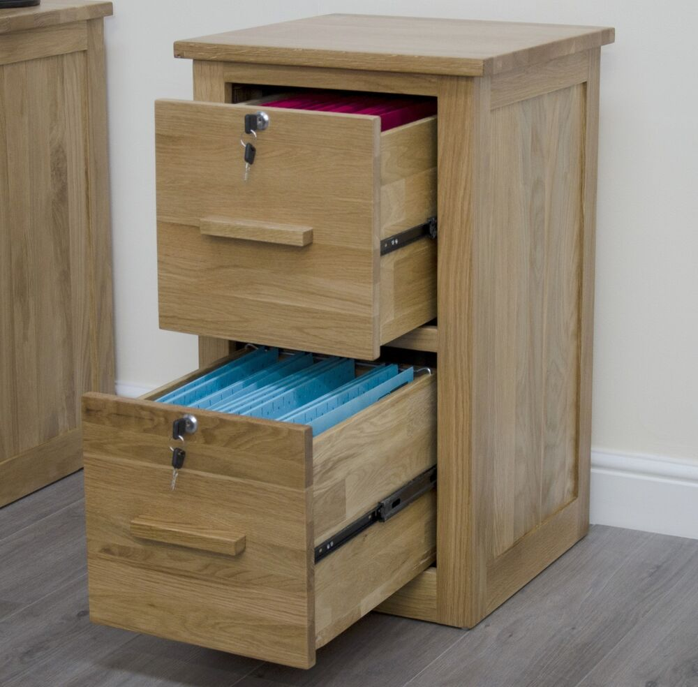 Arden solid oak home office furniture lockable two drawer